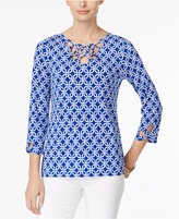 Charter Club Iconic-Print Cutout-Neck Top, Created for Macy's