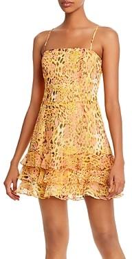 Bardot Snakeskin Printed Ruffled Hem Dress