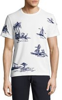 Moncler Embroidered Hawaiian T-Shirt, White
