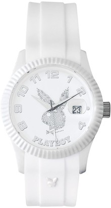 Playboy EVEN38GB - Evening Unisex Quartz Analogue Watch - White Dial - White Silicone Strap