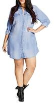 City Chic Chambray Shirt Dress
