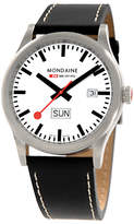 Mondaine A6673030816sbb Unisex Sport Line Leather Strap Watch, Black/white