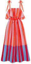 Diane von Furstenberg Striped Cotton And Silk-blend Gauze Maxi Dress - Papaya