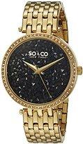 SO&CO New York Women's 5080.3 SoHo Quartz Black Crystal Filled Dial 23K Gold Tone Stainless Steel Link Bracelet Watch