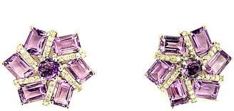 Arthur Marder Fine Jewelry Silver 0.33 Ct. Tw. Diamond & Amethyst Earrings