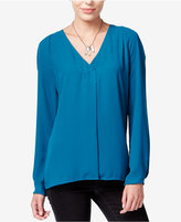 Bar III Long-Sleeve V-Neck Blouse, Only at Macy's