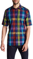 Bugatchi Classic Fit Short Sleeve Plaid Sport Shirt