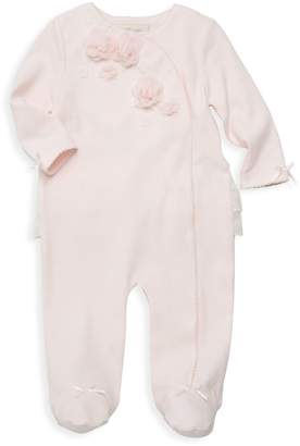 Miniclasix Baby Girl's Floral Applique Footie