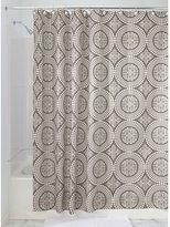 InterDesign Medallion Fabric Shower Curtain, Long 72 x 84, White/