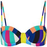 Diane von Furstenberg Striped Bandeau Bikini Top - Azure