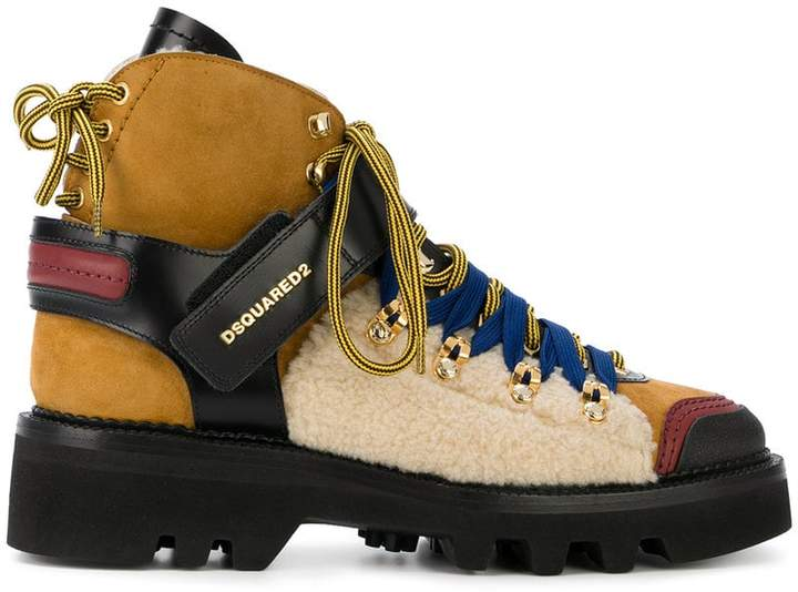 DSQUARED2 colour-block hiking boots