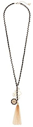 GUESS Woven Chain Necklace with Tassels and Charms (Gold/Jet) Necklace