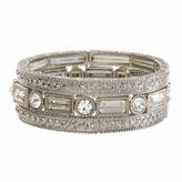 Natasha Accessories Natasha 3-pc. Crystal Silver-Tone Stretch Bracelet Set
