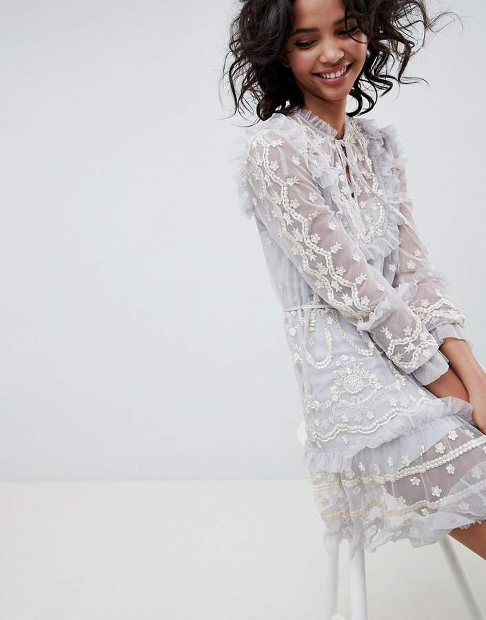 Needle & Thread long sleeve embroidered midi dress in vintage blue