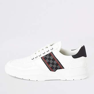 River Island White check tape chunky runner trainers