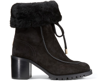 Jimmy Choo BUFFY 65 Black Crosta Suede Hiker Boots with Shearling Lining