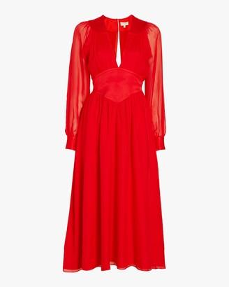 Divine Heritage V-Neck Pleated Midi Dress