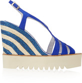 Paloma Barceló Striped raffia and suede wedge sandals