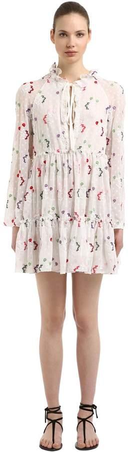 Giamba Floral Embroidered Georgette Mini Dress