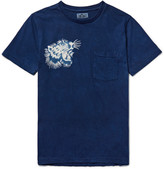 Blue Blue Japan Printed Indigo-Dyed Cotton-Jersey T-Shirt