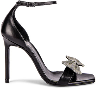 Saint Laurent Amber Bow Ankle Strap Heels in Black | FWRD