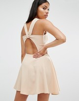 Love Beige Twist Back Guage Strap Skater Dress