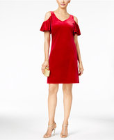 MSK Velvet Ruffled Cold-Shoulder Shift Dress