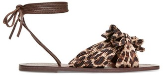 Loeffler Randall Peony Ankle-Wrap Knotted Leopard-Print Sandals