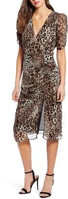 ASTR the Label Leopard Print Ruched Midi Dress