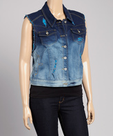 Dark Indigo & Sky Blue Ombré Denim Vest - Plus