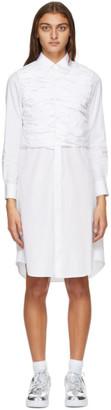 Comme des Garcons White Ruched Shirt Dress