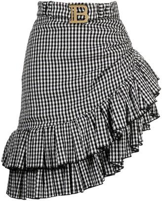 Balmain Belted Ruffled Asymmetric Skirt