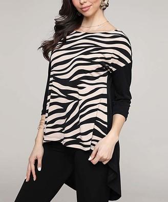 BEIGE Lbisse Women's Tunics Black - Black & Zebra Hi-Low Three-Quarter Sleeve Dolman Tunic - Women