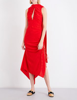 SOLACE London Palmira draped-panel sleeveless silk dress