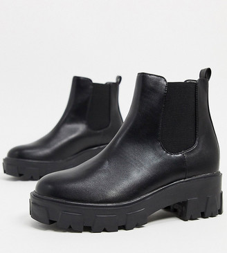 Raid Wide Fit Liza chelsea boots with chunky soles in black