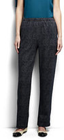 Lands' End Women's Petite Sport Knit Pants-Black Textured Jacquard