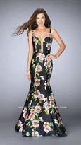 La Femme Delectable Deep Sweetheart Floral Mermaid Long Evening Gown 24589