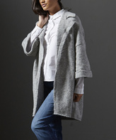 Mavi Jeans Light Gray Melange Collared Open Cardigan