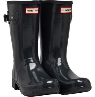 Hunter Womens Tour Short Gloss Wellington Boots Dark Slate