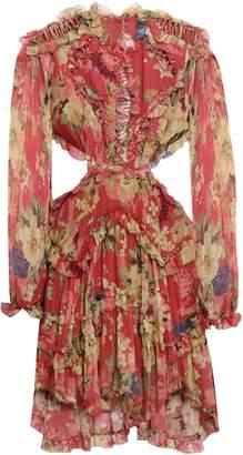 Zimmermann Floral-print Cutout Silk-georgette Mini Dress