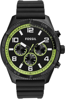 Fossil Men's Brox Multifunction Black Silicone Watch, 50mm