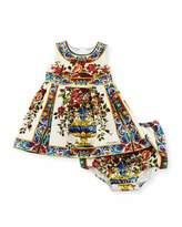 Dolce & Gabbana Caltagir Flower Vase Shift Dress w/ Bloomers, Size 12-24 Months