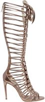 Casadei 100mm Metallic Leather Cage Boots