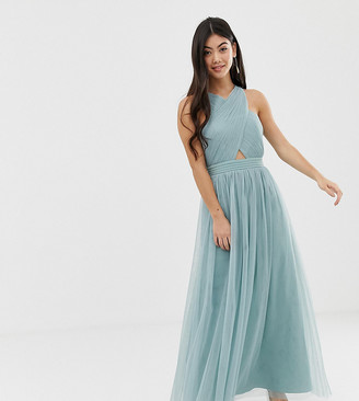 Little Mistress Petite cross neck strappy back tulle maxi dress in green-Blue
