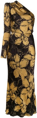 Rebecca Vallance Roswell one-shoulder floral-print satin dress