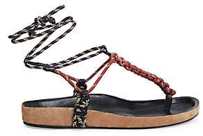 Isabel Marant Women's Loreco Ankle-Wrap Braided Thong Sandals