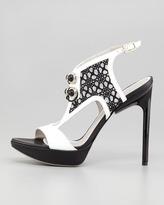 Jason Wu Verushka Lace-Front Platform Sandal, White/Black