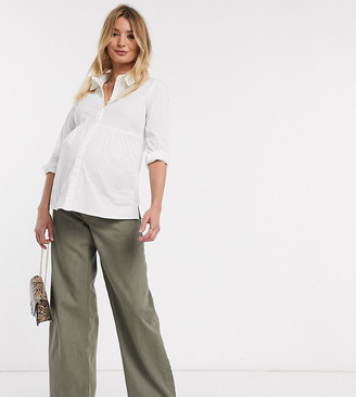 Asos DESIGN Maternity High rise 'relaxed' dad jeans in khaki