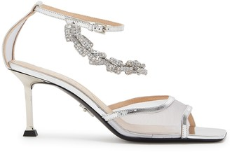 Cesare Paciotti Chiara 75 Embellished Mesh Sandals