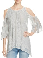 XCVI Risette Lace Cold Shoulder Top